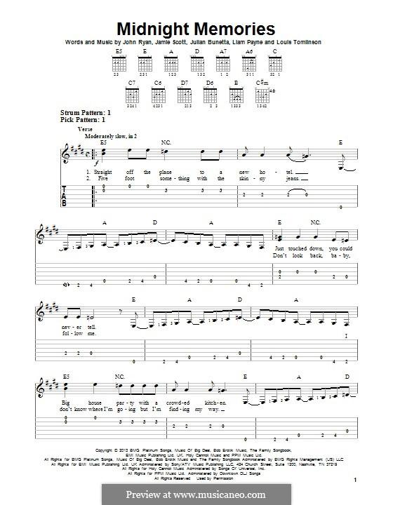 Midnight Memories (One Direction): Для гитары с табулатурой by Julian Bunetta, Jamie Scott, Louis Tomlinson, Liam Payne, John Henry Ryan