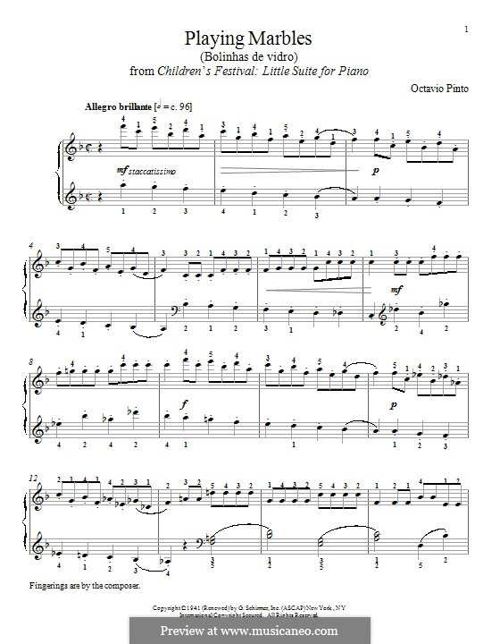 Playing Marbles: Для фортепиано by Octavio Pinto