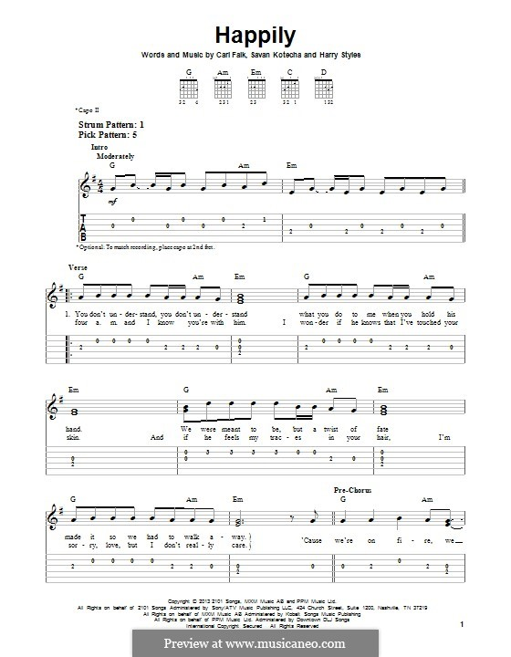 Happily (One Direction): Для гитары с табулатурой by Carl Falk, Savan Kotecha, Harry Styles