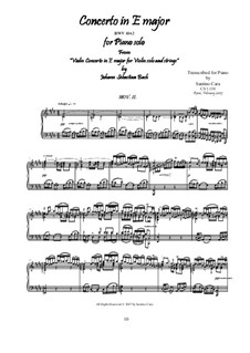 Концерт для скрипки, струнных и бассо континуо No.2 ми мажор, BWV 1042: Movement II Adagio, for piano by Иоганн Себастьян Бах