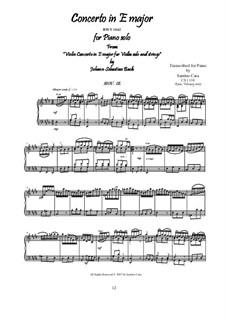 Концерт для скрипки, струнных и бассо континуо No.2 ми мажор, BWV 1042: Movement III Allegro assai, for piano by Иоганн Себастьян Бах