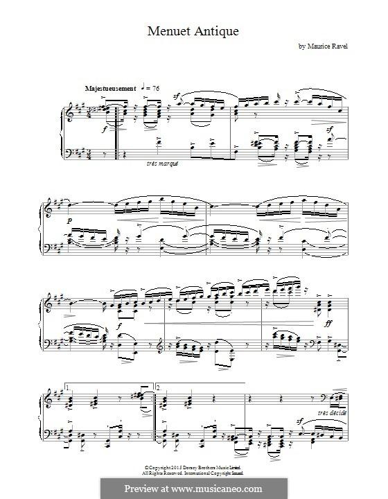 Античный менуэт, M.7: Для фортепиано by Морис Равель