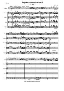 Concerto for Fagotto and Strings in A Minor, RV 499: Score and all parts by Антонио Вивальди