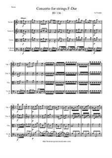Concerto for Strings in F Major, RV 136: Score and parts by Антонио Вивальди