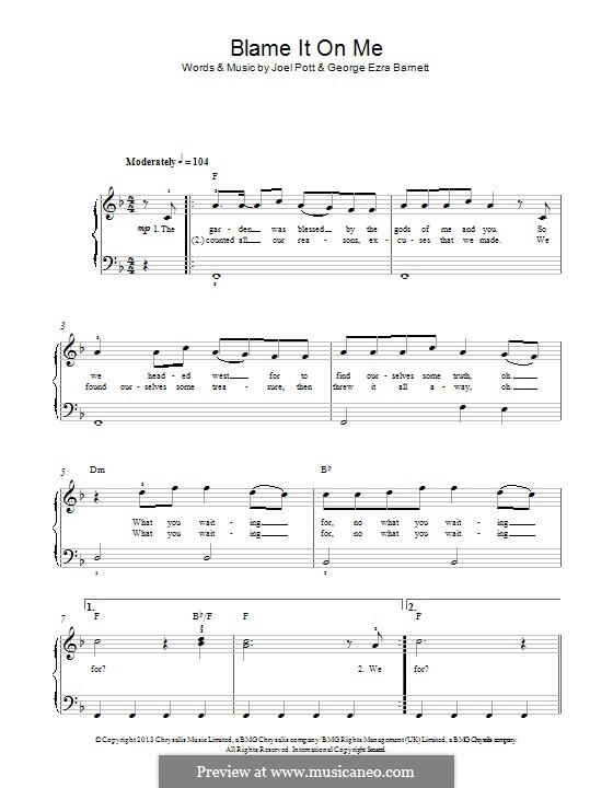Blame it on Me: Для фортепиано by Joel Pott, George Ezra Barnett