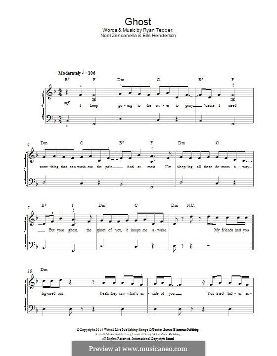 Ghost: Для фортепиано by Noel Zancanella, Ryan B Tedder, Ella Henderson