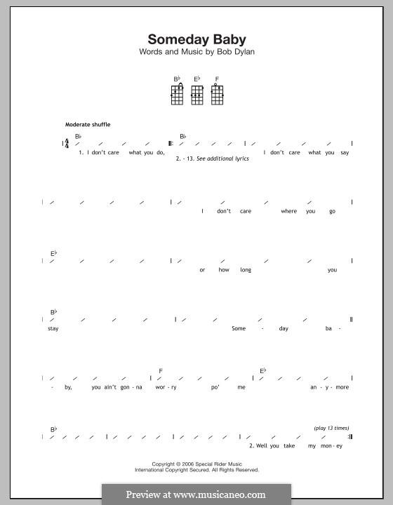 Someday Baby: Для укулеле by Bob Dylan