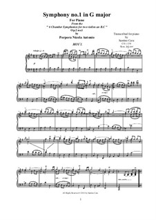 Symphony No.1 in G, Op.2: Complete piano version by Никола Порпора