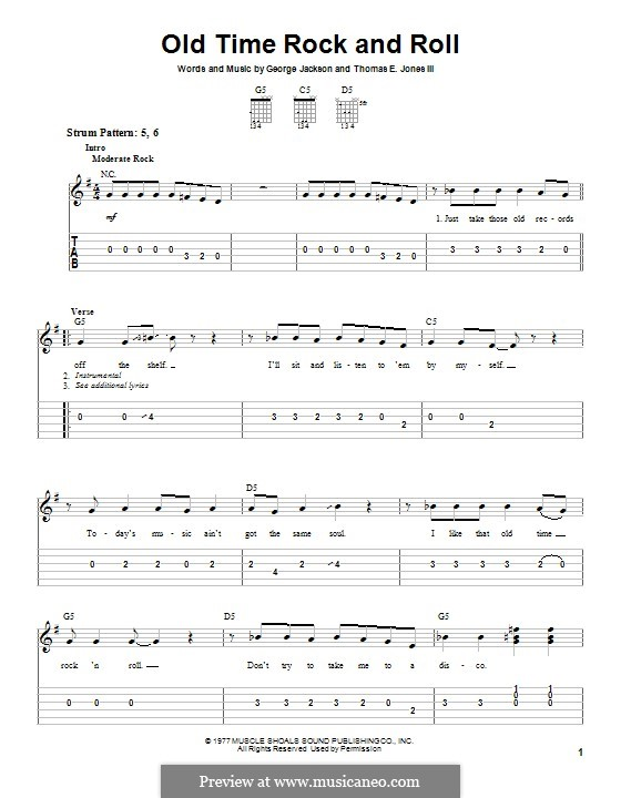 Old Time Rock and Roll: Гитарная табулатура by George E. Jackson, Thomas Jones III