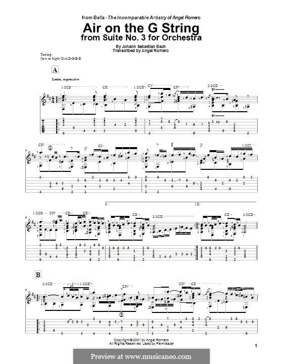 Aria (Printable Scores): Версия для гитары by Иоганн Себастьян Бах