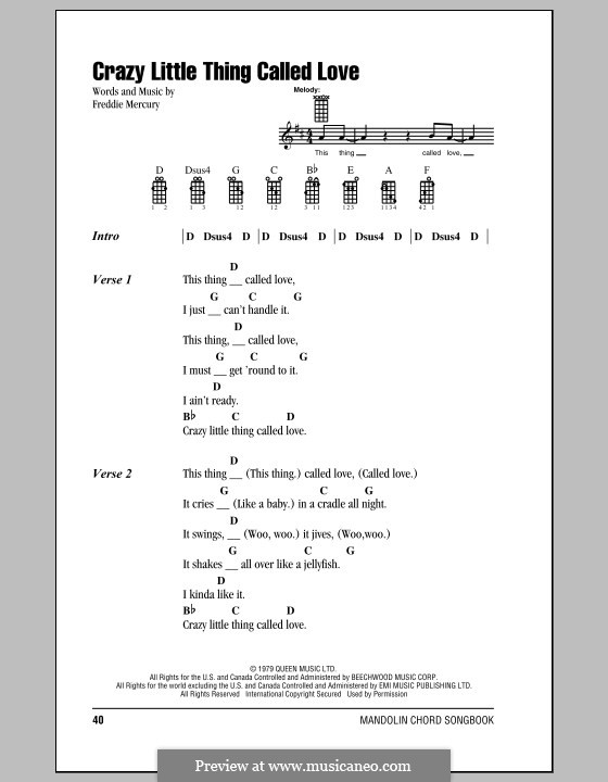Crazy Little Thing Called Love (Queen): Для голоса и фортепиано (или гитары) by Freddie Mercury