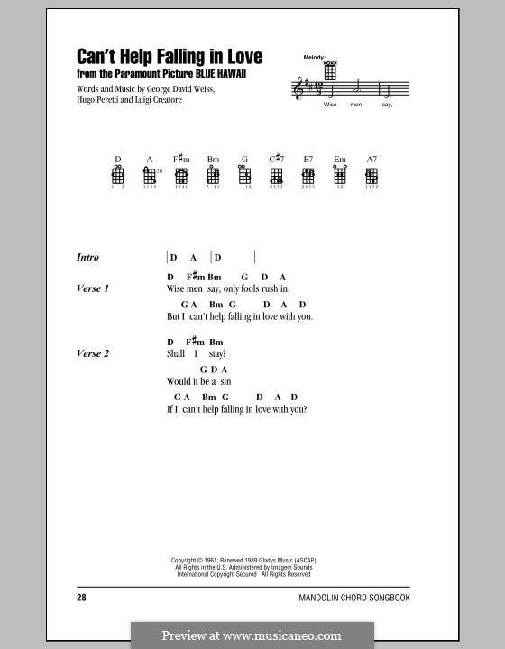 Can't Help Falling in Love: Для голоса и фортепиано или гитары (Elvis Presley) by George David Weiss, Hugo Peretti, Luigi Creatore