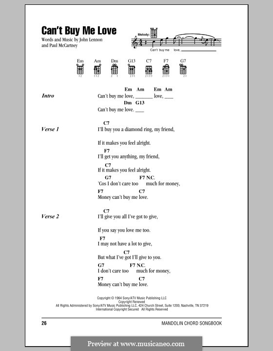 Can't Buy Me Love (The Beatles): Для голоса и фортепиано (или гитары) by John Lennon, Paul McCartney