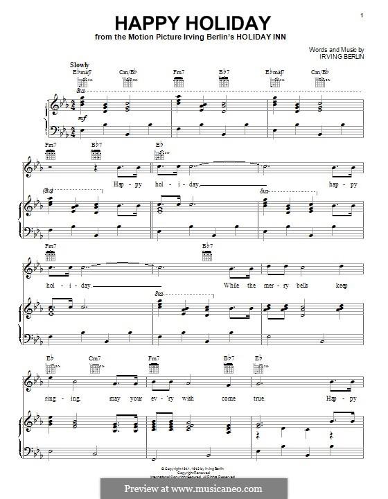 Happy Holiday: Для голоса и фортепиано (или гитары) by Ирвинг Берлин
