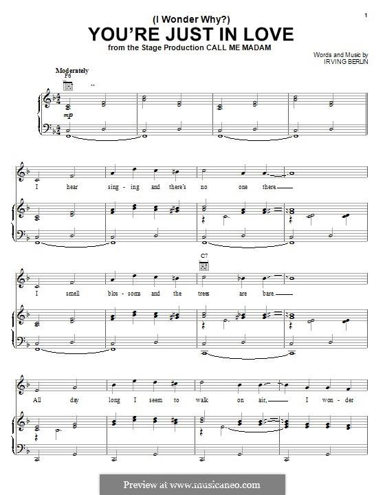 (I Wonder Why?) You're Just in Love: Для голоса и фортепиано (или гитары) by Ирвинг Берлин