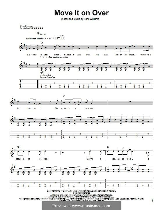 Move It on Over: Гитарная табулатура by Hank Williams