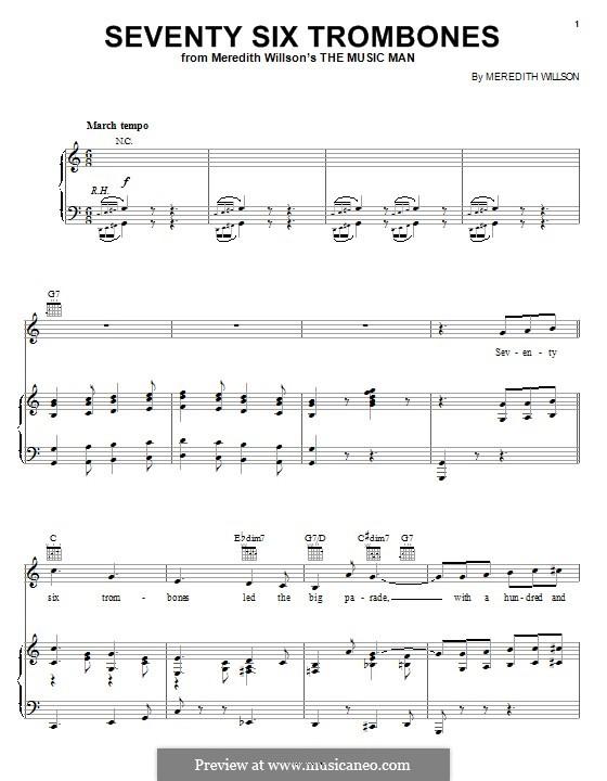 Seventy Six Trombones: Для голоса и фортепиано (или гитары) by Meredith Willson