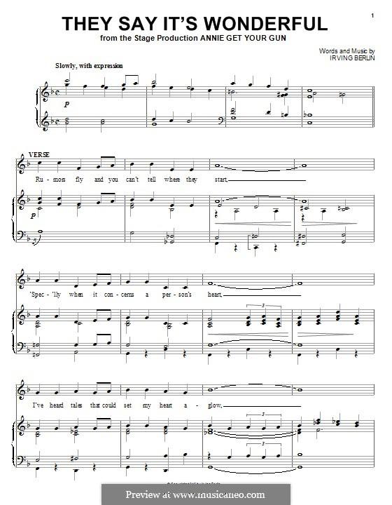 They Say It's Wonderful: Для голоса и фортепиано (или гитары) by Ирвинг Берлин