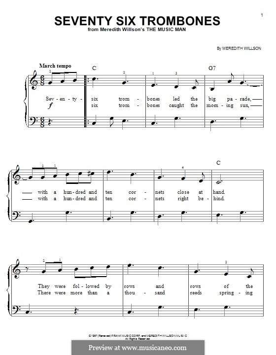 Seventy Six Trombones: Для фортепиано by Meredith Willson
