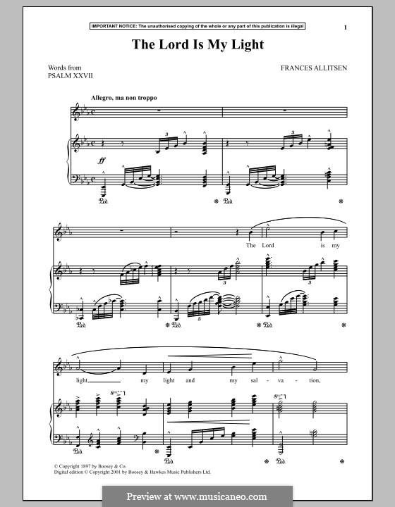 The Lord is My Light: Для голоса и фортепиано by Frances Allitsen