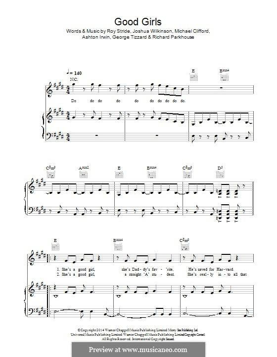 Good Girls (5 Seconds of Summer): Для голоса и фортепиано (или гитары) by Roy Stride, Michael Clifford, Ashton Irwin, George Tizzard, Richard Parkhouse, Josh Wilkinson
