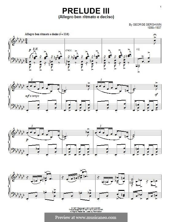 Три прелюдии для фортепиано: Прелюдия No.3 ми-бемоль минор by Джордж Гершвин