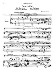 Концертино для кларнета и малого оркестра, BV 276 Op.48: Версия для кларнета и фортепиано by Ферруччо Бузони