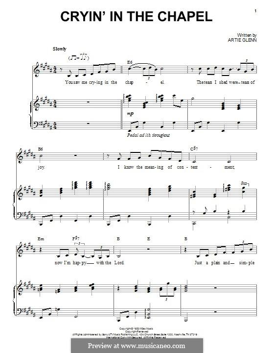 Crying in the Chapel (Elvis Presley): Для голоса и фортепиано by Artie Glenn