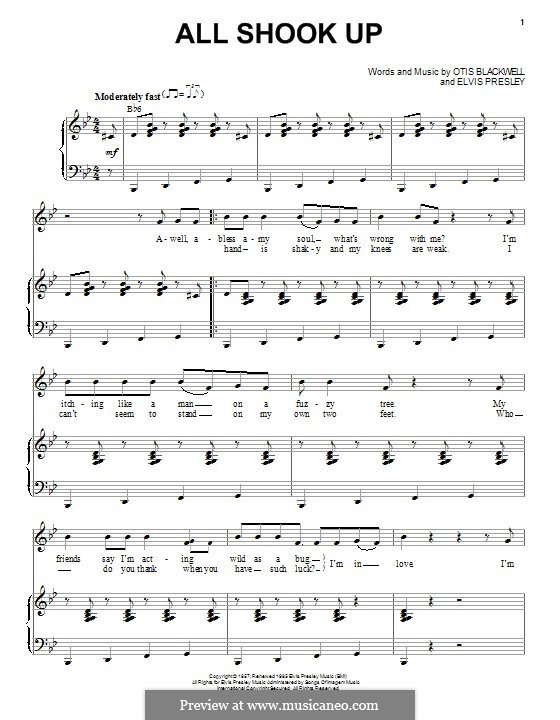 All Shook Up: Для голоса и фортепиано by Elvis Presley, Otis Blackwell