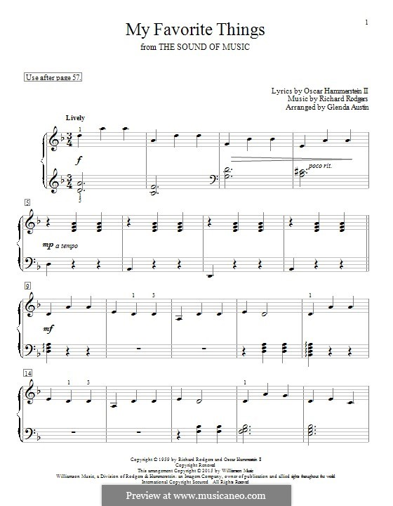 My Favorite Things (from The Sound of Music), for Piano: Для одного исполнителя by Richard Rodgers
