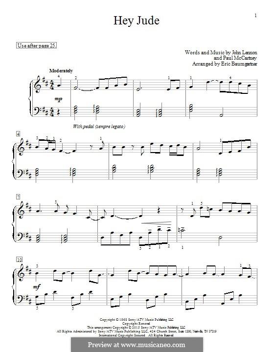 Hey Jude (The Beatles), for Piano: Для одного исполнителя by John Lennon, Paul McCartney