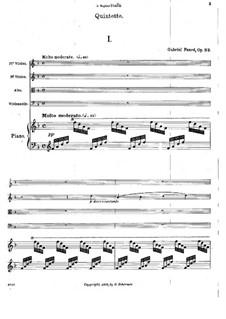 Фортепианный квинтет No.1 ре минор, Op.89: Партитура by Габриэль Форе
