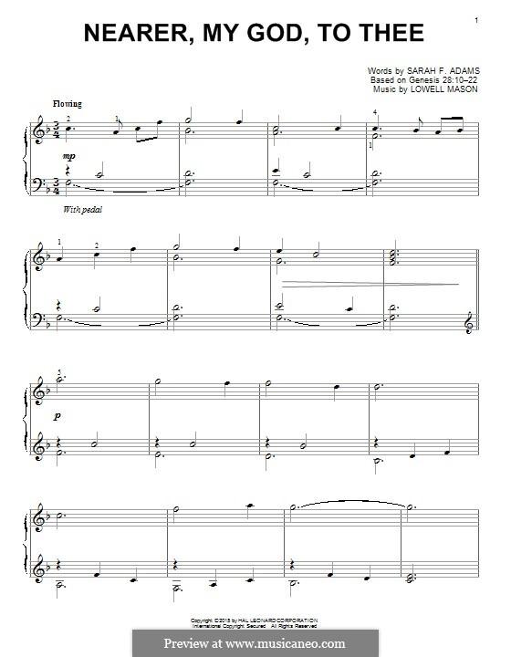Nearer, My God, To Thee (Printable scores): Для фортепиано by Lowell Mason