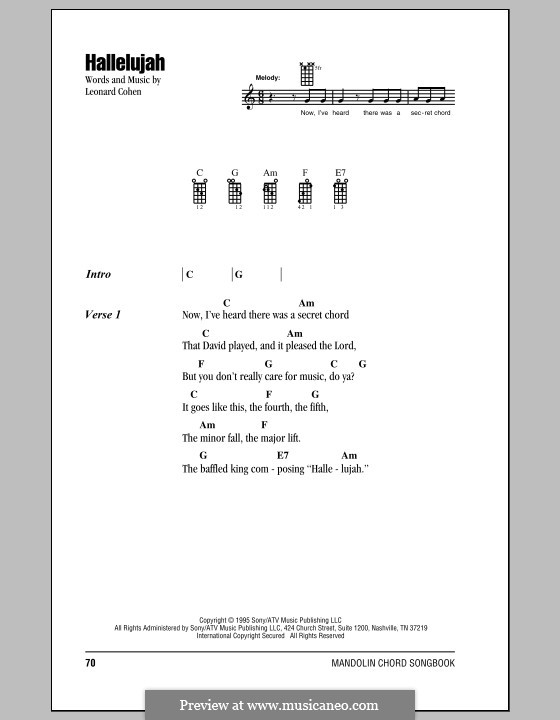 Hallelujah: For mandolin by Leonard Cohen