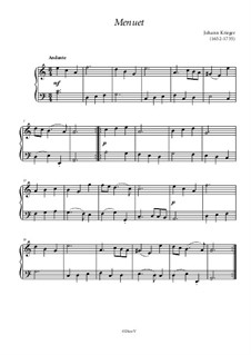 Менуэт: Для фортепиано by Иоганн Кригер