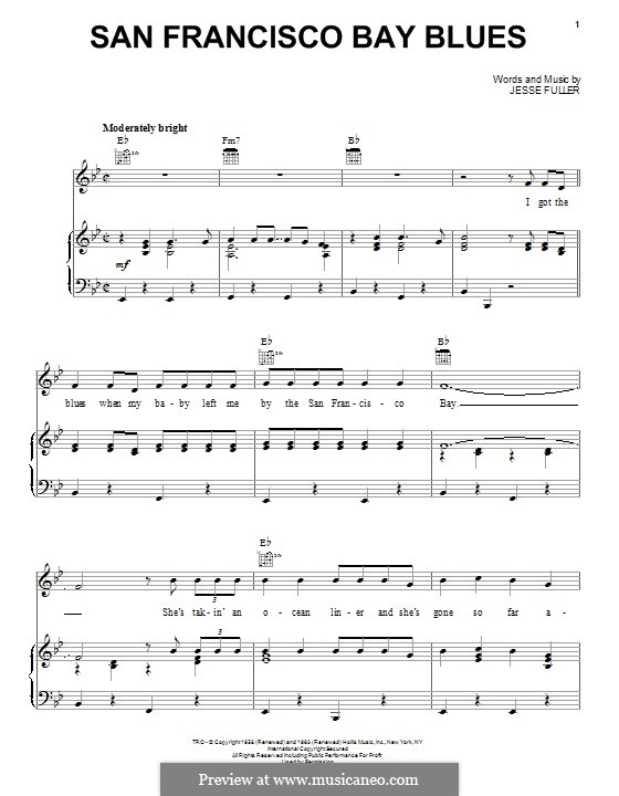 San Francisco Bay Blues: Для голоса и фортепиано (или гитары) by Jesse Fuller