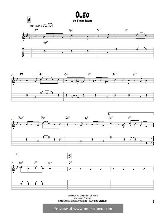Oleo: Гитарная табулатура by Sonny Rollins