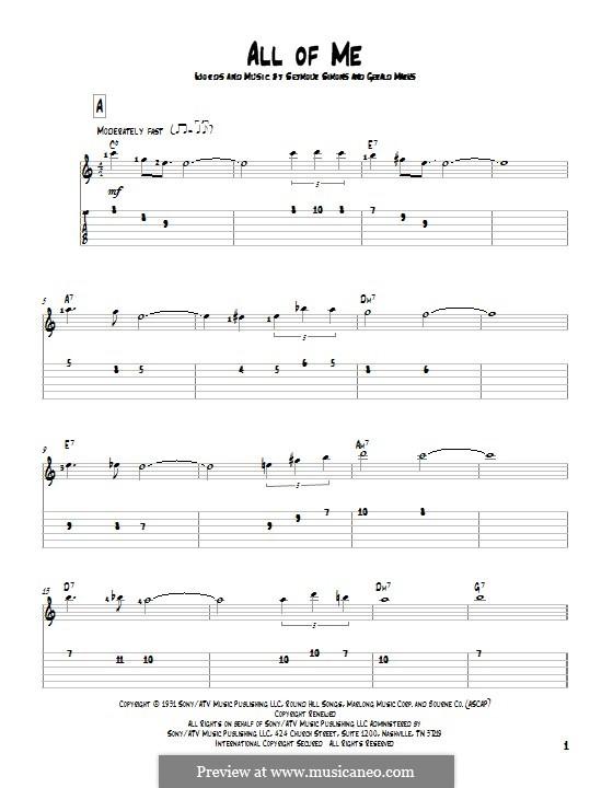 All of Me: Гитарная табулатура by Seymour Simons, Gerald Marks