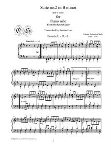 Сюита для оркестра No.2 си минор, BWV 1067: Bourrées I-II-I, for piano by Иоганн Себастьян Бах
