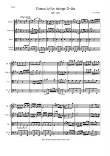 Concerto for Strings in G Major, RV 145: Score and parts by Антонио Вивальди