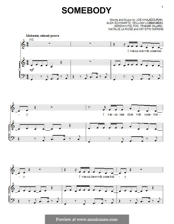 Somebody (Natalie la Rose feat. Jeremih): Для голоса и фортепиано (или гитары) by Flo Rida, Alex Schwartz, Joe Khajadourian, Krystin Watkins, William Lobban-Bean, Jeremih Felton