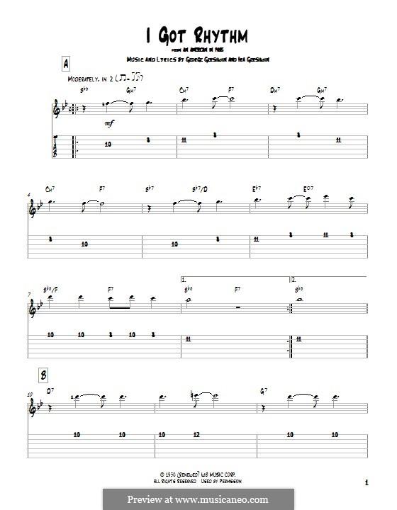 I Got Rhythm: Гитарная табулатура by Джордж Гершвин