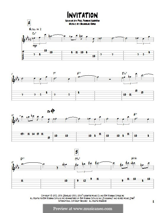 Invitation: Гитарная табулатура by Bronislau Kaper