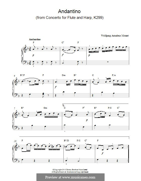 Концерт для флейты, арфы и орекстра до мажор, K.299: Andantino. Version for piano by Вольфганг Амадей Моцарт