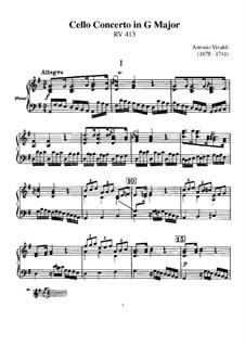 Концерт для виолончели с оркестром соль мажор, RV 413: Партитура by Антонио Вивальди