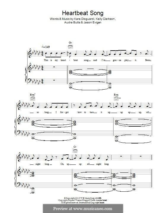 Heartbeat Song: Для голоса и фортепиано (или гитары) by Audra Butts, Kara DioGuardi, Kelly Clarkson, Jason Evigan