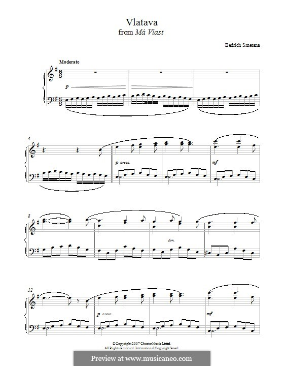 Влтава, T.111: Theme, for piano by Бедржих Сметана