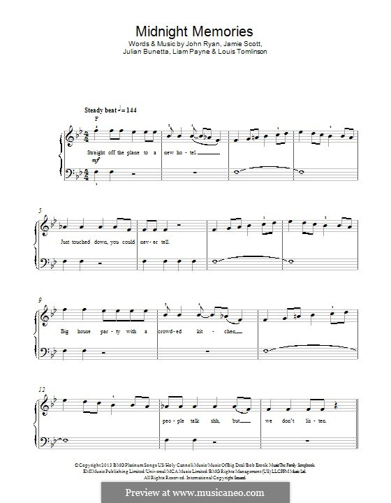 Midnight Memories (One Direction): Для фортепиано by Julian Bunetta, Jamie Scott, Louis Tomlinson, Liam Payne, John Henry Ryan