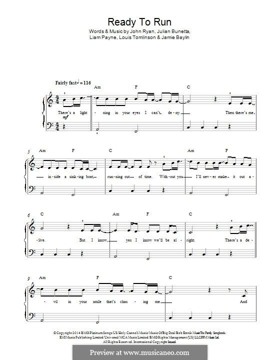 Ready to Run (One Direction): Для фортепиано by Julian Bunetta, Louis Tomlinson, Liam Payne, Jamie Baylin, John Henry Ryan