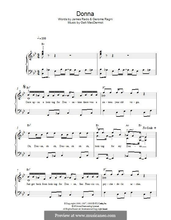 Donna: Для фортепиано by Galt MacDermot